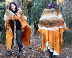 Red Coyote Fur and Deerskin Cape by lupagreenwolf