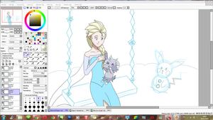 WIP - Elsa and Espurr by JackFrostOverland