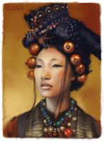 Tibetan woman by koel-art