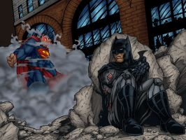 superman vs batman colours by belgerles