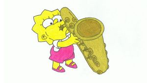 Simpsons Drawing #9 - Lisa's Sax by SIMPSONSDRAWER