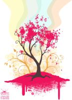 70th Anniversary - Pink Tree by joanniegoulet