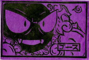 Gastly Japanese style lino cut by TheBeardedGoldfish