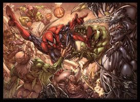 spiderman vs sinister 7 by faroldjo
