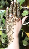 Henna Flowered Half Lace Hand by flowerwills
