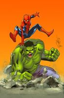 Spidey and Hulk by deffectx