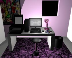 Computer Room in 3D by AnimeGal2010