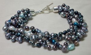 Blue Pearls Bracelet by ACrowsCollection