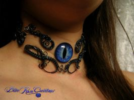 Another Custom - Floating Blue Dragon Eye Choker by LadyPirotessa