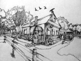 Farmhouse - Pen and ink on paper. by 117design