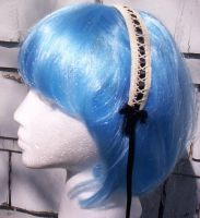 Ivory and Black Headband by GothicDorothy