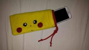 Pikachu soft mobile phone bag by RawrSheepy