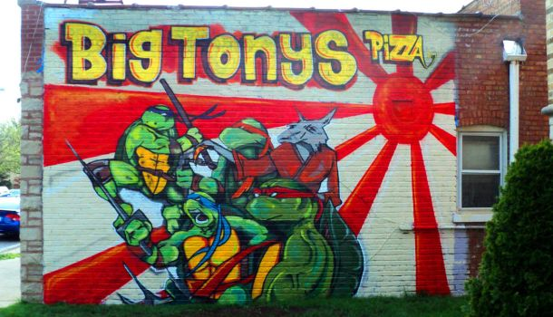 Graffiti turtle Pizza by darkriddle1