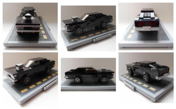 Dom's 1970 Dodge Charger (with stand) collage by Spooky42