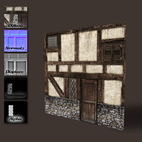 Medieval wall with door and windows by DeepBlueDesign