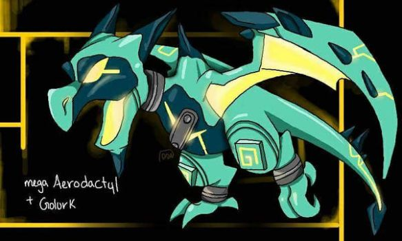 mega aerodactyl golurk fusion   by Lux-The-Umbreon