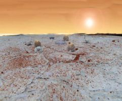 Mars Polar Base Diorama at Sunrise with Truck by skphile