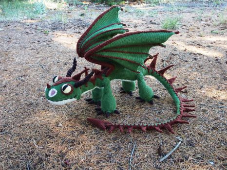 Terrible Terror crochet dragon 2 - green and brown by silvergirl919