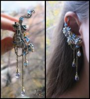 Ear cuff and stud Town of forgotten dreams by JSjewelry