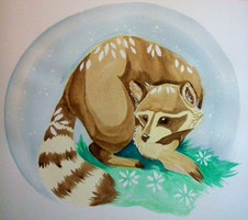 Raccoon Watercolor Painting by TotemEye