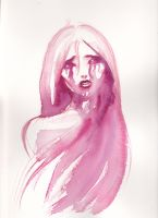 Sad girl in pink by nienor