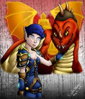 Jenove and her Drake with BG by isisraven