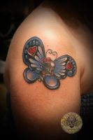 skull butterfly color tattoo by 2Face-Tattoo