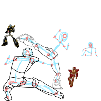 WIP.. Red/Prowl sparring while Ninjadash watches by liongirl2289