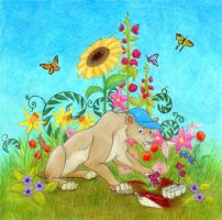 Lioness Gardening by tursiart