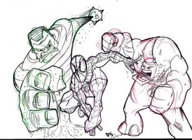 Spidey and foes..sketch1 by Dekka-93