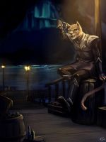 Khajiit and fish by Blookarot