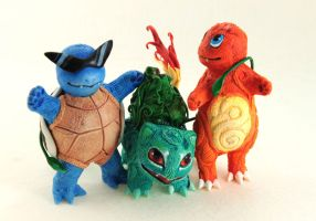Kanto start pokemons-Bulbasaur Charmander Squirtle by hontor
