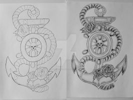 Anchor tattoo design 1 by ThereseDrawings