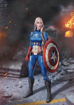 Female Captain America by amorphisss