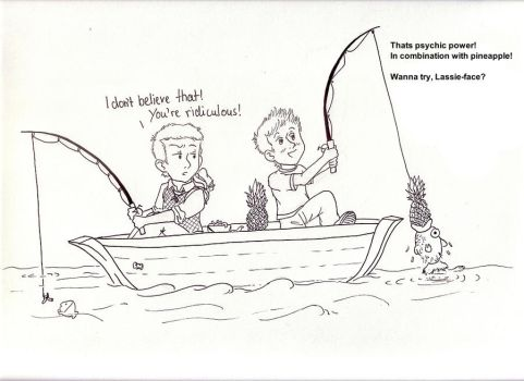 Psych Shawn and Lassie fishing by ChibiThekla
