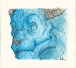 Blue Gouache Dragon Head by kunnossa