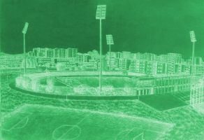 Drawing - Panorama Of The City Stadium (04) by eduaarti