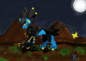 Luxray in the moonlight by KalakOfPrelude