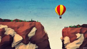 LOW POLY CLIFFS AND BALON. by pyxArtz