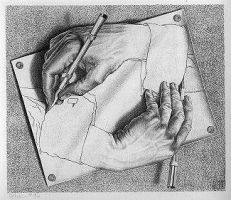 ESCHER DRAWING HANDS IS WRONG by carriefawnsmom