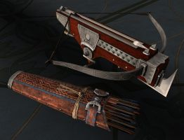 Dwarven Quiver and Crossbow by heidifury