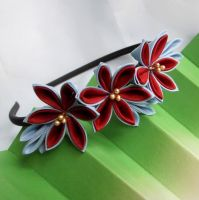 Red and blue kanzashi headband by elblack