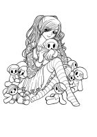 Amy with Dolls - Lineart by Sakurakane