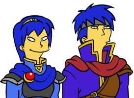 Marth and Ike, Simpsons style by Wiljan