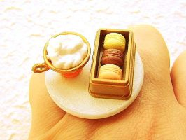 Chocolate Macaron Ring by souzoucreations