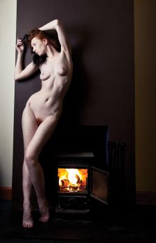 nude by the fire by ChrissieRed