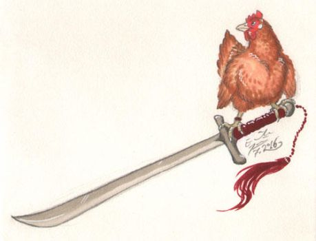 Sword and chicken by Paperiapina