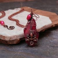 Scarlet Red Pearl Frog- Earthy Tribal Necklace by Shanti-Lewis