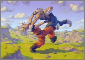 Goku vs Vegeta (2008) by GrayShuko