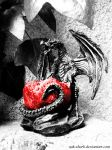 The black dragon and red apple by Zak-Shark